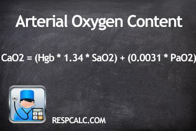 Arterial Oxygen Content Calculation Respcalc Respiratory